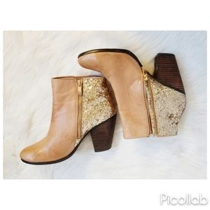 Vince Camuto Glitter Leather Booties